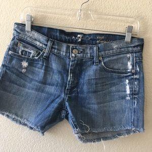 7 for all Mankind denim cut off shorts Sz 28